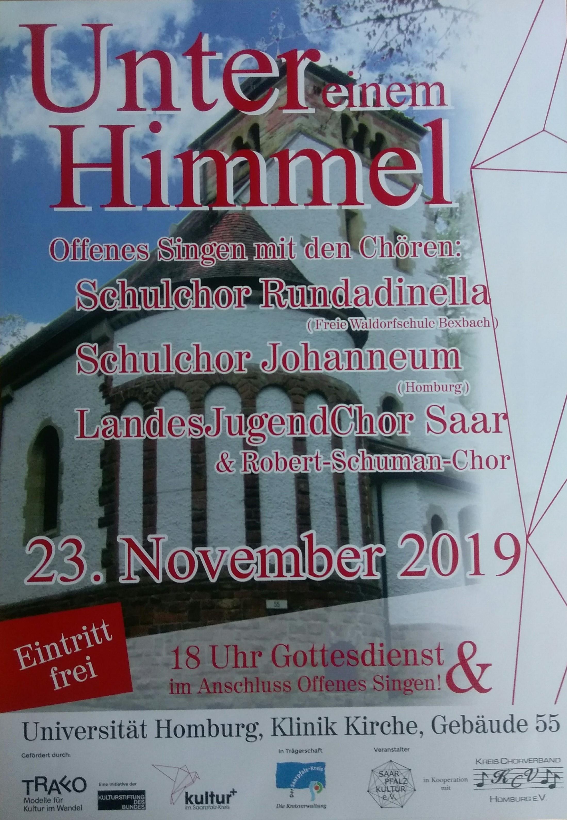 """Das Plakat zur Veranstaltung """"Unter einem Himmel - Offenes Singen"""" in 2019"""